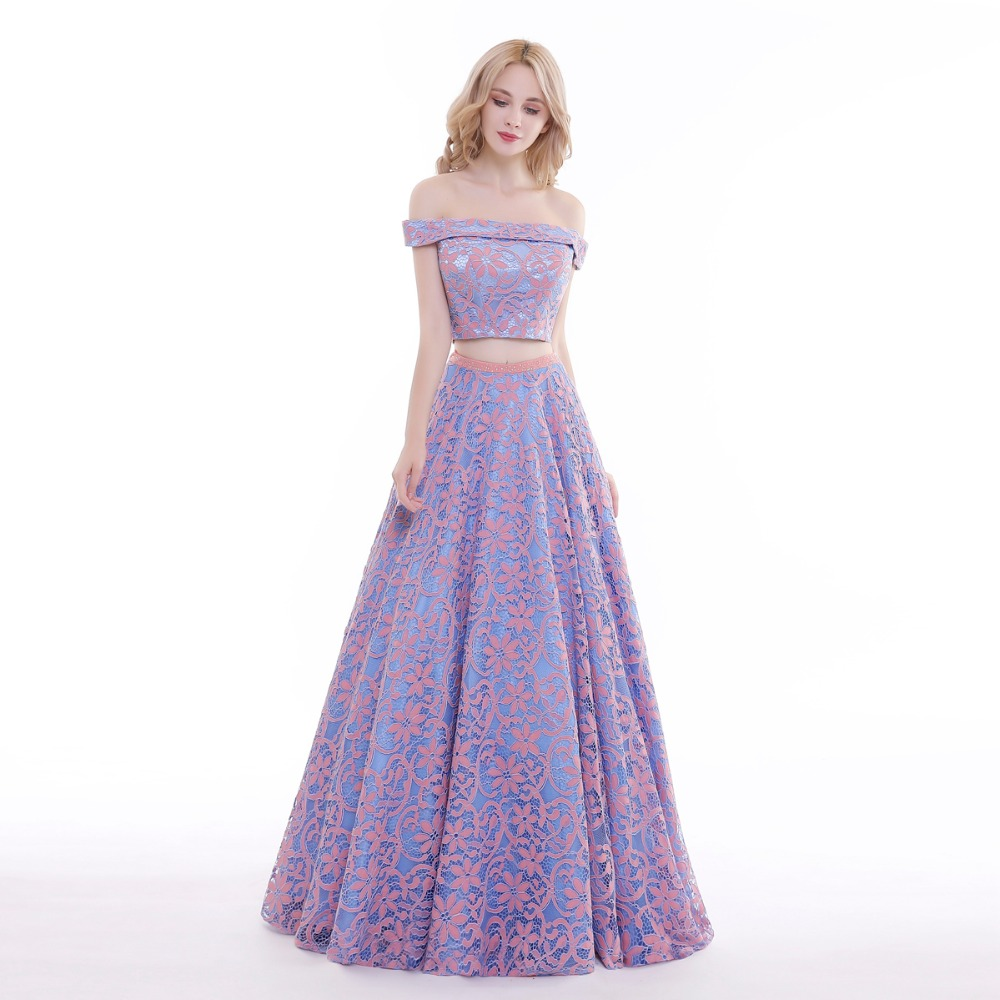 Finove 2019 New Prom Dresses Long Floor Length Romantic Purple Sexy Strapless Vintage Flowers Lace Lady