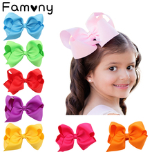 цена на 6 Inch Solid Hair bow For Baby Girls Handmade Grosgrain Ribbon Headwear Kids Hair Clips Todder Hair Bows Baby Hair Accessories