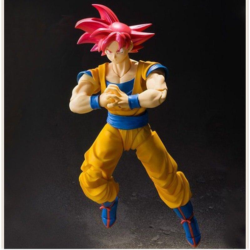 16CM Dragon Ball Z Son Gokou Super Saiyan God Red Hair Kakarotto DBZ Anime Akira Toriyama PVC Action Figure Model Toy L1180