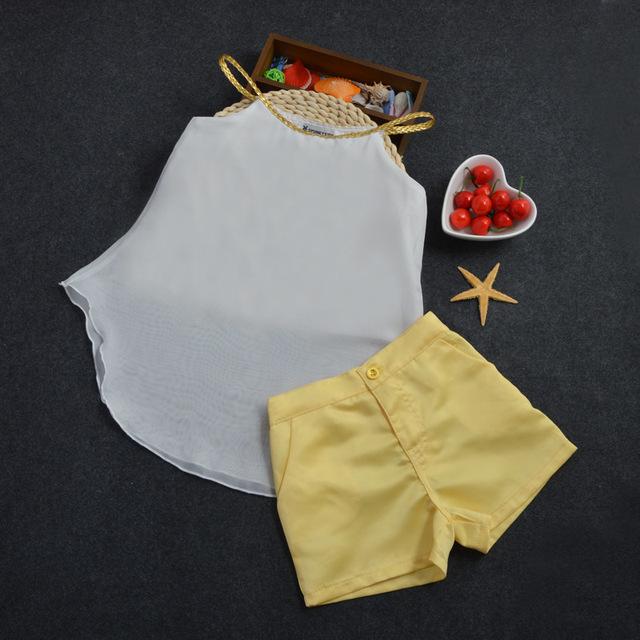 Menina roupa do bebê 2016 meninas Coreanas malha Chiffon sling shorts duas peças set crianças terno de dança menina conjuntos