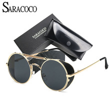 SARACOCO Brand Design Anti-Reflective Steampunk Sunglasses Female 2017 UV400 Women/Men Sun Glasses Goggles #CO004