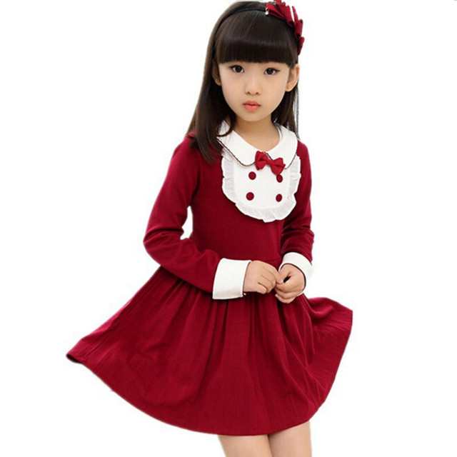 Enfant Girls Clothes 2017 Girls Winter Kids Dress Girls Long Sleeve Thicken Dresses with Bow Girl Vestidos