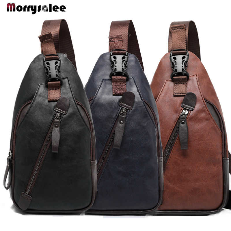 PU Leather Men's Chest Bags Fashion Trend Shoulder Bag Messenger Bag Theftproof Rotatable Button Open Leather Bags