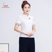 Spring/summer 2019 new hotel front desk work clothes beauty salon short sleeve waitress suit