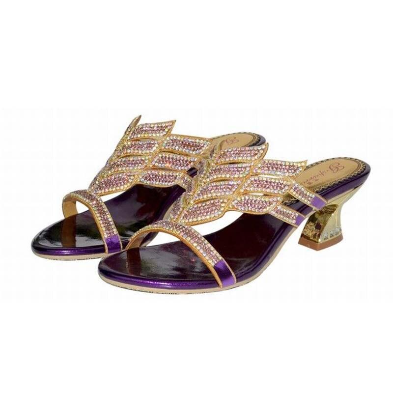 93865b557a4 2017 hot sale fashion brand women thick high heels slippers rhinestone  gladiator slides woman elegant summer bling bling shoes