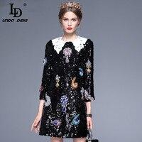 High Quality New 2017 Fashion Runway Black Dress Women S Wrist Sleeve Peter Pan Collar Luxury