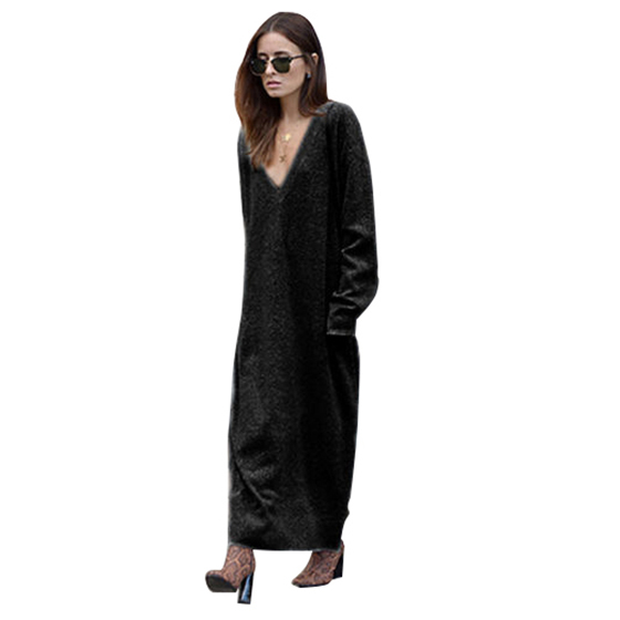 NEW-Deep V Neck Long Sleeve Women Knitted Sweater Dress Bodycon Autumn Spring Long Sweater Dress