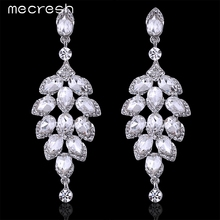 Mecresh Exclusive Tree Shape Crystal Silver Plated Dangle Long Earrings for Women Bridal Wedding Jewelry Christmas Gift EH646