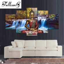 FULLCANG diy 5 pcs diamond painting scenic waterfall buddha full square embroidery 5D mosaic cross stitch D269