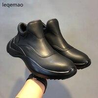 Nouvelle Arrivée De Mode Hommes Bateau Chaussures Étanche Zip Véritable En Cuir De Luxe Marque Formateurs Homme Printemps Automne Plat Noir Taille 38-44