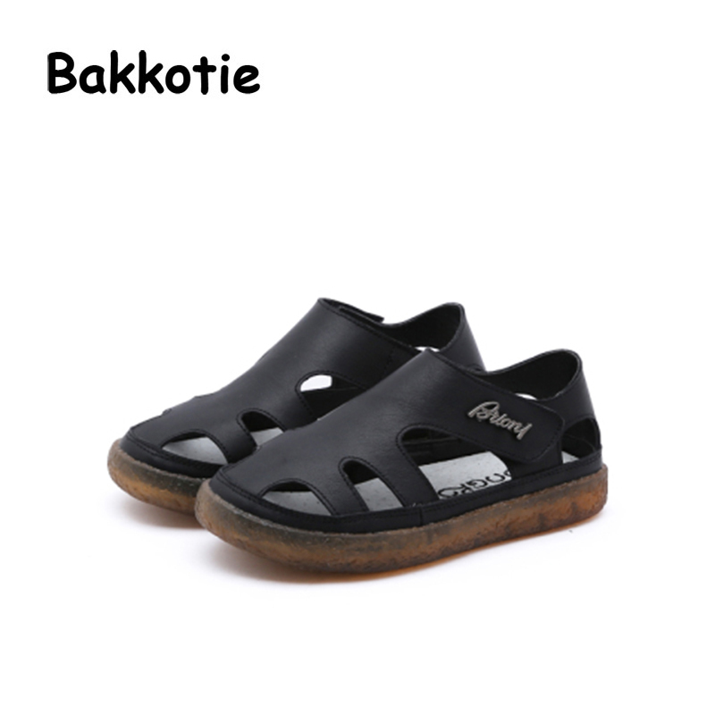 Bakkotie 2018 Summer New Baby Boy Fashion Beach Sandals Children Genuine Leather Black Flat Toddler Girl Brand Soft Casual Shoes