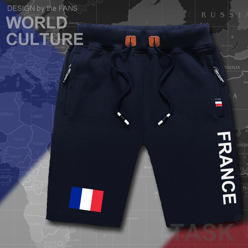 France French Republic Mens Shorts Beach New Men's Board Shorts Flag Workout Zipper Pocket Sweat Bodybuilding FRA 2017 Casual