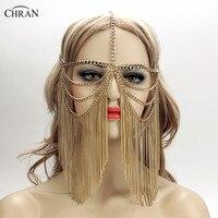 Chran Złota Sexy Kobiet Wielowarstwową Pomponem Łańcucha Biżuteria Czoło Nakrycia Głowy Pałąk CRB4139 Chainmail Maska Ciało Biżuteria
