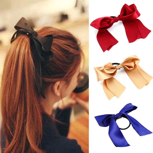 1PC Women Tiara Satin Bow Tie Scrunch Hair Band Ribbon Scrunchie Ponytail Holder Rope Rings Hair Accessories Girl Headbands