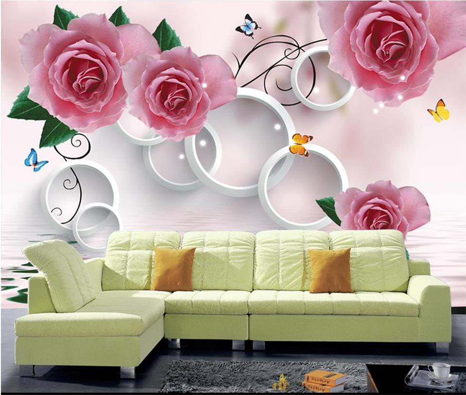 custom 3d photo wallpaper living room mural sticker 3d red rose circle painting bedroom sofa TV background wall non-woven mural custom 3d room mural wallpaper non woven wallpaper senery red maple forest photo living room tv backdrop bedroom photo wallpaper