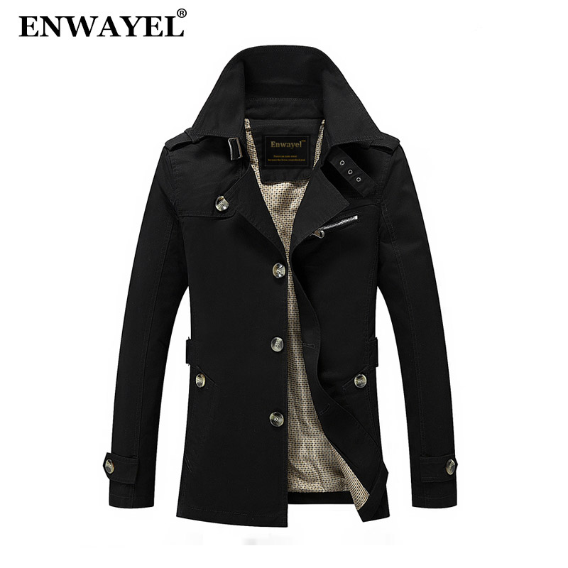 Jackets Enwayel Spring Autumn Jacket Men Slim Fit Trench Coat Mens Cotton Button Male Casual Outerwear Windbreaker Overcoat Jackets Coat