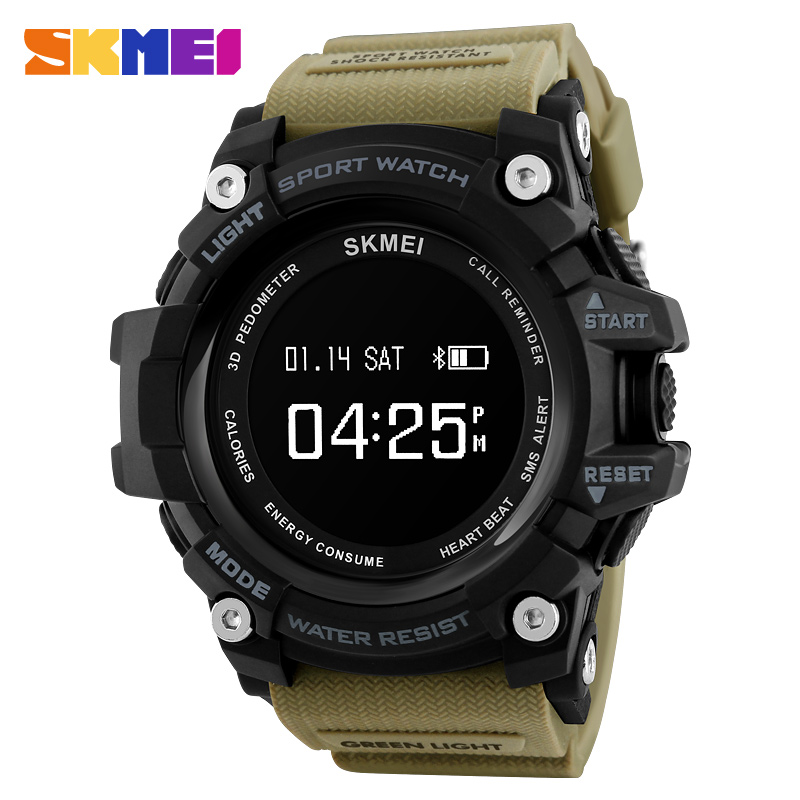 Smartwatch For Iphone IOS Android Rechargeable Heart Rate Monitor Bluetooth Digital Sports Watches Men Pedometer Calories SKMEI skmei men sports health watches 3d pedometer heart rate monitor calories counter 50m waterproof digital led mens wristwatches