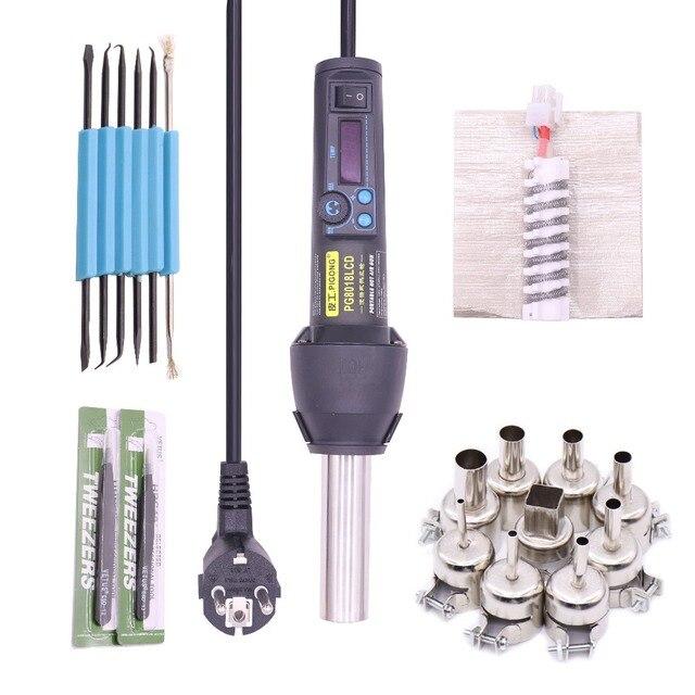 EU220V/US110V 650 Вт ЖК дисплей регулируемый электронный тепла фена распайки паяльная станция IC SMD BGA + сопла 8018 8858