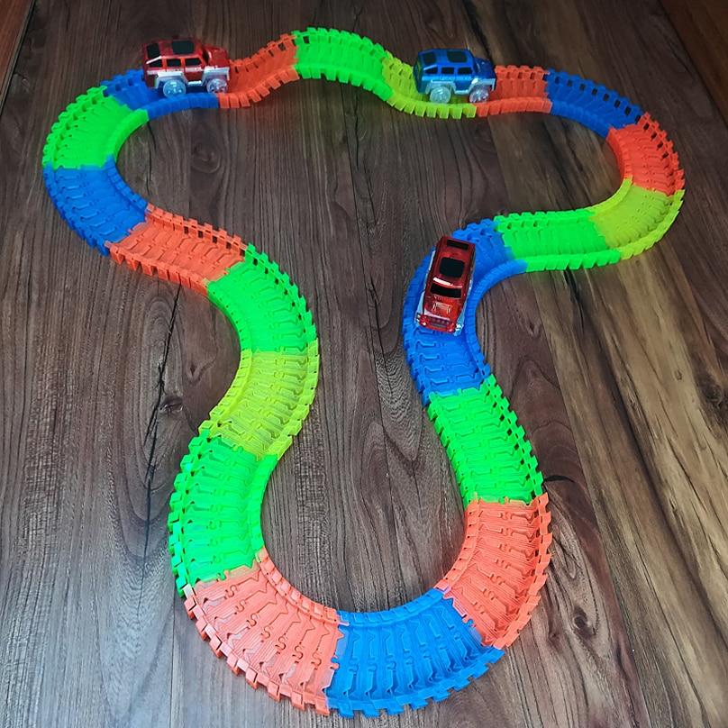 Nuevo Flex Glow Tracks Electric LED Light Up Race Rail Car Roller - Vehículos de juguete para niños - foto 2