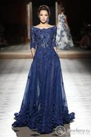 Elie Saab Dresses Party Evening Gowns Sleeves Scoop Appliques Prom Dresses 2017 Navy Blue Celebrity Formal