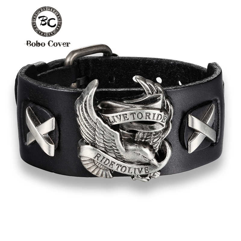 Bobo Cover Punk Style Male Rider Eagle Genuine Leather Bracelet Ride to live Charm bracelets & bangles For Men pulseira de couro