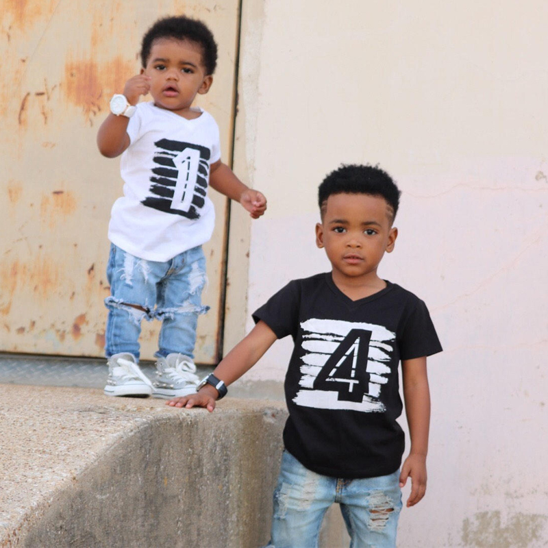 Summer 1 2 3 4 Print Birthday T Shirt Boys Girls Casual Cotton V