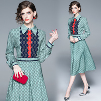 womens ladies Designer chequer runway A Line Skater office ladies wear to work Cocktail party Swing MIdi dress dresses clothes