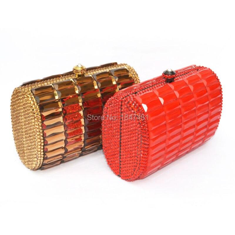 LaiSC Mini bolsos de embrague en forma de caja de cristal de lujo bolsos de tard