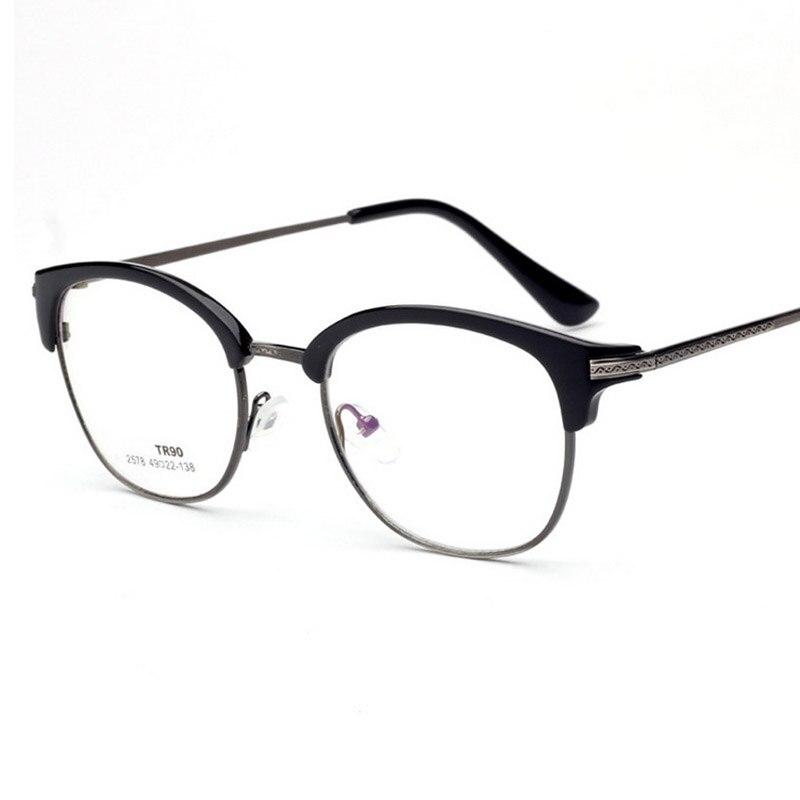 ③New TR90 High Quality Half Frame Optical Plain Mirror Eyeglasses ...
