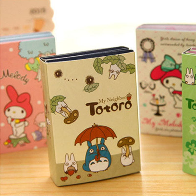 2 pcs/Lot My neighbor Totoro memo pad Cute melody sticky notes Cartoon post folding book Stationery School supplies FM355