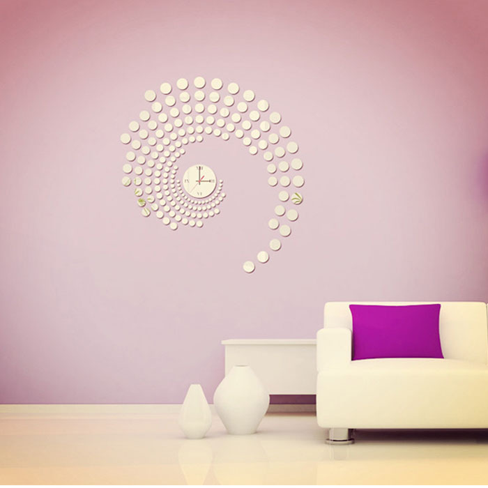 2015 Warm Home Decoration & Modern Peacock Dot Sticker DIY Mirror Wall Clock Wall Sticker Home Decoration adesivo parede Smile