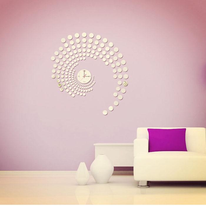 2015 Warm Home Decoration & Modern Peacock Dot Sticker DIY Mirror Wall Clock Wall Sticker Home Decoration adesivo parede Smile