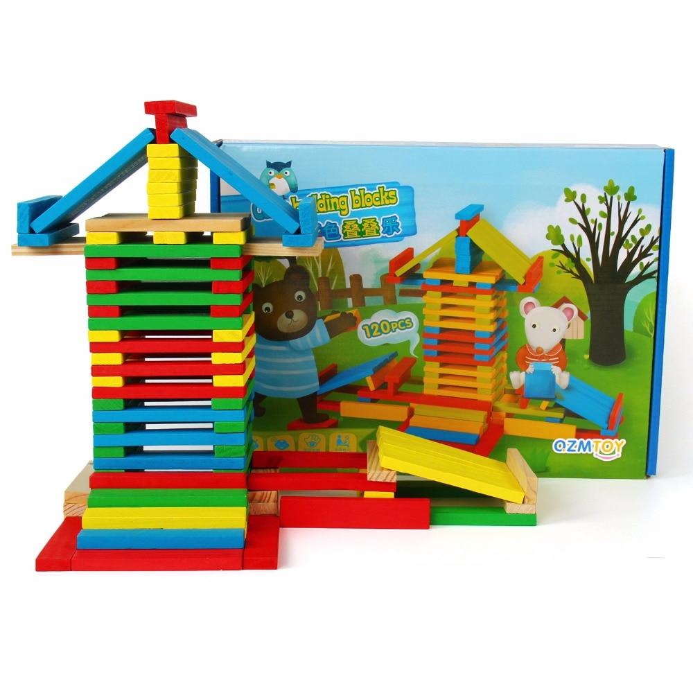 120 Stücke Kinder Holzspielzeug Stacking Blocks Spiele Baby Learning Bildung Modell Formen Spielzeug Roll Gestapelt Turm Blöcke