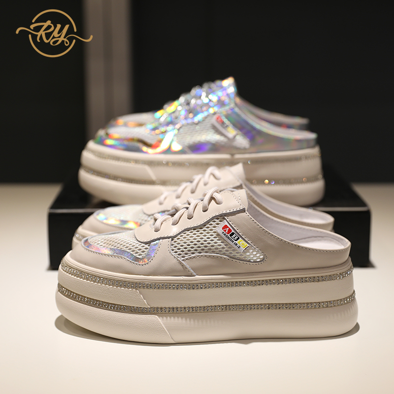 RY-RELAA slippers women 2018 summer new style luxury shoes women designers silver shoes for women Genuine Leather slides slipperRY-RELAA slippers women 2018 summer new style luxury shoes women designers silver shoes for women Genuine Leather slides slipper