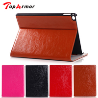 TopArmor 2017 New Genuine Leather Crazy Horse Pattern Stand Smart Wallet Cover Case For Apple IPad