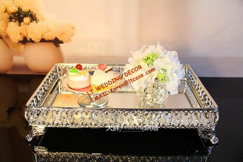 Big Size Wedding Cake Serving Tray Dessert And Fruit Plate For Kitchen and Hotel Wedding Silver Trays