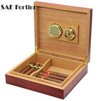 Classic Cedar Wood Cigar Storage Box Humidor High Quality Cigar Storage Case Box + Humidor Humidifier 1pc Black / Brown TEQ0352