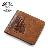 יער teemzone Serie Bifold עור האמיתי של גברים רזה אופקי קבלת מזומן חלון מזהה ארנק מחזיק כרטיס אשראי ארנק Q801