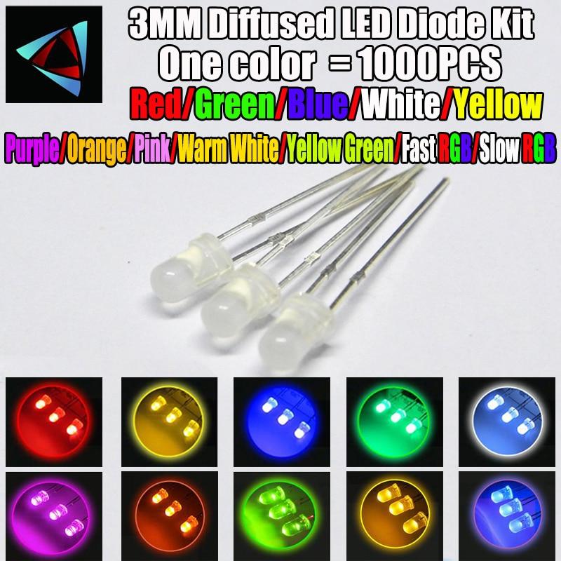 20pcs Warm White LED 3mm Diffused Round Lens Light Emitting Diode-USA