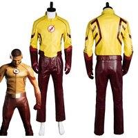 Kid Flash Young Justice Temporada 2 Cosplay Traje Traje Uniforme Traje de Camisa Capa Con Máscara de Carnaval de Halloween
