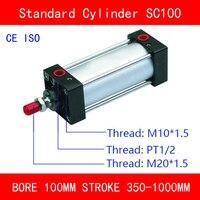 CE ISO SC100 Воздушные цилиндры магнит клапана диаметр 100 мм строк 350 мм до 1000 мм ход одного стержня пневматический цилиндр двойного действия