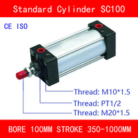 CE ISO SC100 Air Cylinders Valve Magnet Bore 100mm Strock 350mm to 1000mm Stroke Single Rod Double Acting Pneumatic Cylinder