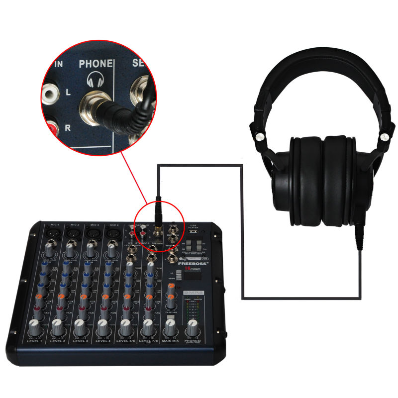 Freeboss MDH9000 Monitor Headphones with 50mm Drivers Single side Detachable cable SMR8 DJ Mixer Audio Mixer