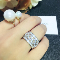 Brand Pure 925 Sterling Silver Jewelry For Women Wedding Rings Full Stone Bead Jewelry Big Wide Rings For WomenTop Quality 678 #