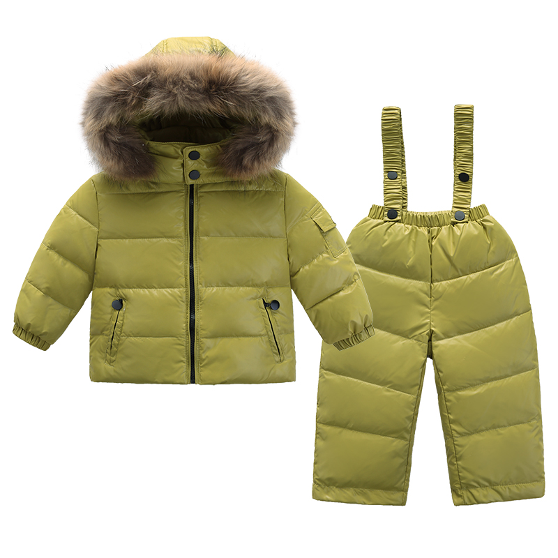 2018 fashion Children clothing 2 pieces suits snowsuit down jacket for girls coat kids clothes for boys parka winter snow wear 2016 winter boys ski suit set children s snowsuit for baby girl snow overalls ntural fur down jackets trousers clothing sets