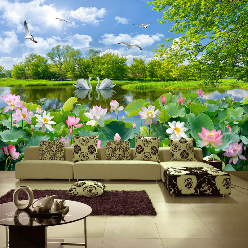 Custom Photo Wallpaper Lotus Pond Swan Lake Nature Landscape Large Murals Papel De Parede 3D Living Room Decoration Wall Mural customize wallpaper for walls 3 d swan lake picture in picture 3d tv backdrop 3d photo wall mural 3d landscape wallpaper