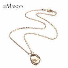 eManco Chic Charming Zinc Alloy Long Necklace Fashion Minimalist Geometric Pendant Necklace for Women Copper Brand Jewelry(China)