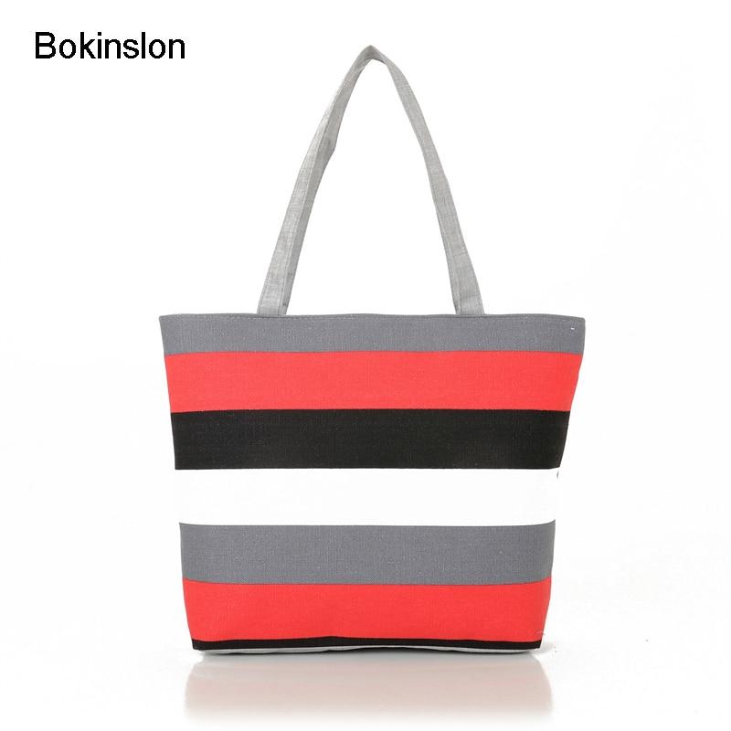 Bokinslon Fashion Woman Big Bags Canvas Stripe Woman Shoulder Bags Casual Practical Female Shoulder Bags Brand