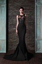 hot sexy backless Juwel hals schwarze spitze satin lange meerjungfrau abendkleider ballkleider vestidos de festa maßgeschneiderte e195