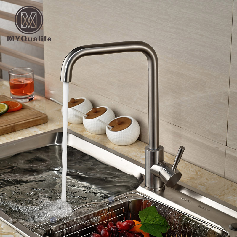 Deck Mount 360 Rotation Kitchen Sink Faucet Tap Brushed Nickel Single Lever with Hot Cold Water